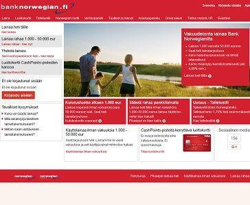 Bank Norwegian myöntää edullista pankkilainaa 50000 euroon asti.