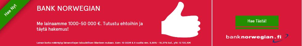 Bank Norwegianilta saat lainaa heti tilille netistä ilman vakuuksia ja takaajia.