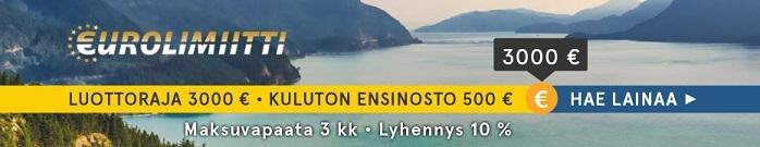 Eurolimiitiltä voit nostaa pikalainaa ilman kuluja 500 euroon asti.
