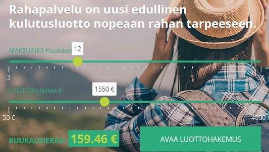 Luottohakemuksen avaaminen Rahapalvelu.fi:lle on todella helppoa