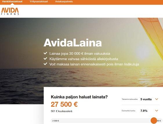 Avida Finans on juuri Suomessa ovensa avannut ruotsalainen lainanmyöntäjä. Ruotsissa yrityksellä on vuosikymmenien kokemus alalta ja se on perustettu jo vuonna 1983!