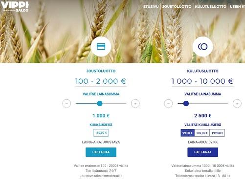Vippi.fi - ota 500 - 2000 euron joustoluotto tai 1000 - 10 000 euron laina, se käy helposti.